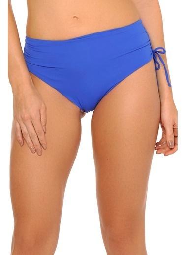 Reflections Mix Match Yandan Büzgülü Düz Yüksek Bel  Bikini Alt Saks